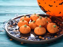 Pumpkin shape halloween marshmallow for kids Royalty Free Stock Photo