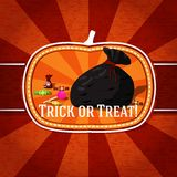 Pumpkin shape retro stylized badge, bag with. Candies and trick or treat greeting. Vector illustration Stock Photography