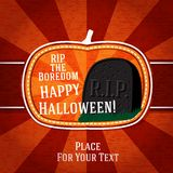 Pumpkin shape retro stylized badge, with black rip. Boredom tomb stone and halloween greeting. Vector illustration Royalty Free Stock Image