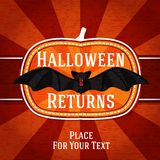 Pumpkin shape retro stylized badge, with black. Scary bat and happy halloween greeting. Vector illustration Royalty Free Stock Images
