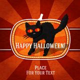 Pumpkin shape retro stylized badge, with black. Scary cat and halloween greeting. Vector illustration Stock Photo
