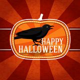 Pumpkin shape retro stylized badge, with black. Scary raven and happy halloween greeting. Vector illustration Royalty Free Stock Images