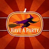 Pumpkin shape retro stylized badge, with black. Witch on the broomstick and have a party greeting. Vector illustration Royalty Free Stock Images