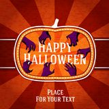 Pumpkin shape retro stylized badge, with creepy. Hands getting the happy halloween greeting. And with place for your text. Vector illustration Royalty Free Stock Photos