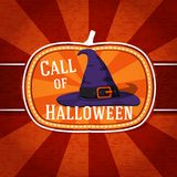Pumpkin shape retro stylized badge, violet witch. Hat with strap and buckle and halloween greeting. Vector illustration Stock Photo