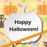 Pumpkin shaped Halloween card Stock Photos