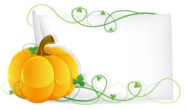 Pumpkin and sheet of paper Stock Photo