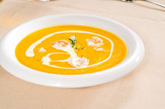 Pumpkin and shrimps cream soup Royalty Free Stock Images