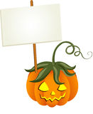 Pumpkin with Signboard Stock Photo