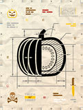Pumpkin silhouette as technical blueprint drawing Royalty Free Stock Photo