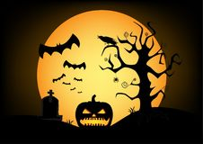 Pumpkin silhouette on the big yellow moon and black sky background. Horizontal royalty free illustration