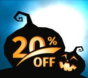 Pumpkin silhouette on dark blue sky with full moon. Halloween 20 percent off, sale banner. Holiday offer, autumn. Discount vector illustration Stock Illustration