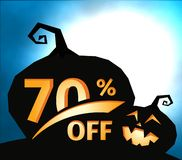 Pumpkin silhouette on dark blue sky with full moon. Halloween 70 percent off, sale banner. Holiday offer, autumn. Discount vector illustration vector illustration