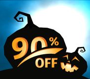 Pumpkin silhouette on dark blue sky with full moon. Halloween 90 percent off, sale banner. Holiday offer, autumn. Discount vector illustration stock illustration