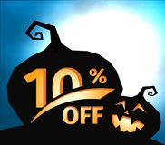 Pumpkin silhouette on dark blue sky with full moon. Halloween 10 percent off, sale banner. Holiday offer, autumn. Discount vector illustration Vector Illustration
