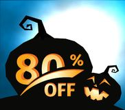 Pumpkin silhouette on dark blue sky with full moon. Halloween 80 percent off, sale banner. Holiday offer, autumn. Discount vector illustration stock illustration