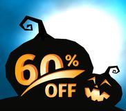 Pumpkin silhouette on dark blue sky with full moon. Halloween 60 percent off, sale banner. Holiday offer, autumn. Discount vector illustration stock illustration