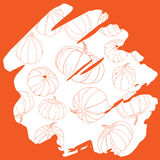 Pumpkin silhouette pattern on orange background hand drawn handw. Riting  thanksgiving day halloween card Stock Images