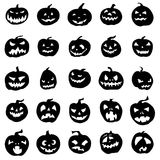 Pumpkin silhouettes set. On white background Stock Photo
