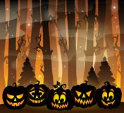 Pumpkin silhouettes theme image 2 Royalty Free Stock Photos