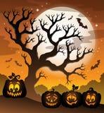 Pumpkin silhouettes theme image 6 Stock Photos