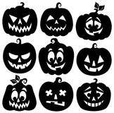 Pumpkin silhouettes theme set 1 Royalty Free Stock Images