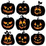 Pumpkin silhouettes theme set 2 Royalty Free Stock Photography