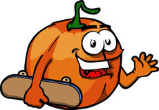 Pumpkin with skateboard Royalty Free Stock Images