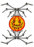 Pumpkin skeletal. Color illustration of a halloween pumpkin surrounded by bones Royalty Free Stock Photography