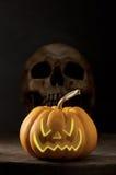 Pumpkin and skull Royalty Free Stock Photo