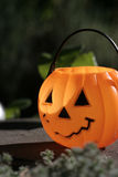 Pumpkin on slate. Child's plastic pumpkin pail on slate rock - vegetation in foreground Stock Images