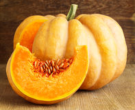 Pumpkin with slice stock photos