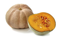 Pumpkin and sliced half on white bacground. Pumpkin and sliced half isolated on white bacground Stock Images
