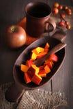 Pumpkin slices stock images