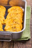 Pumpkin slices with spices stock images