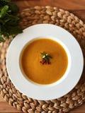 Pumpkin smash soup royalty free stock photos