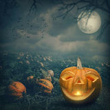Pumpkin with smile and candle Royalty Free Stock Images