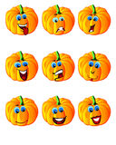 Pumpkin smiles. Set of pumpkin smiles emote icons Royalty Free Stock Photography