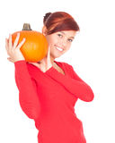 Pumpkin with smiling girl Royalty Free Stock Photo