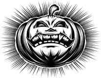 Pumpkin Smiling Halloween Harrasment Horror Spooky Hand Drawing. Evil pumpkin with open mouth with tooth and sinister eyes. A cartoon icon of main symbol of stock illustration