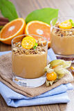 Pumpkin smoothie with granola on top Royalty Free Stock Photography