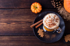 Pumpkin smoothie, spice latte. Boozy cocktail Stock Photos