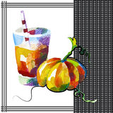 Pumpkin. Smoothie in watercolor style Royalty Free Stock Photo