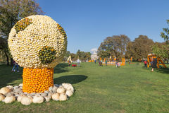 Pumpkin soccer ball. Big soccer ball of pumpkins. Exhibition of figures made of pumpkins, sports theme, Egapark, Erfurt, Germany. 16.10.2016 Royalty Free Stock Images
