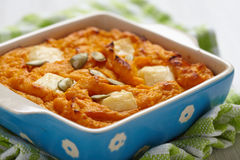 Pumpkin souffle with cheese and seeds Royalty Free Stock Images