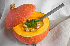 Pumpkin Soup. With spoon, autumn food Royalty Free Stock Photos