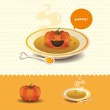 Pumpkin soup. A funny pumpkin soup with cartoon character Royalty Free Stock Photos