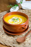 Pumpkin soup. Fresh pumpkin cream soup with  spoon Royalty Free Stock Photo