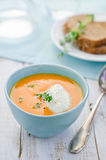 Pumpkin soup. Fresh pumpkin cream soup with  spoon Stock Photography
