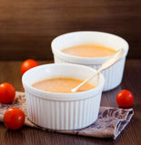Pumpkin Soup. With mini tomatoes Stock Image
